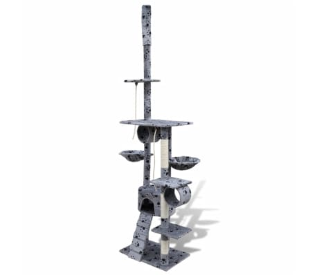 Mačje Drevo / Praskalnik 220 - 240 cm 1 Hišica Sive Barve s Tačkami[2/5]