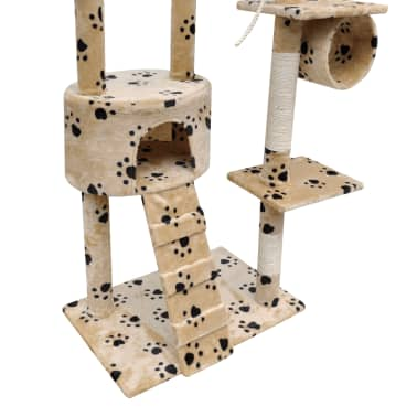 Cat Tree Cat Scratching Post 1 Condo Beige with Pawprints[4/5]