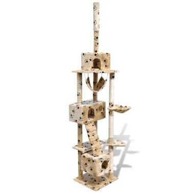 Mačje Drevo / Praskalnik 220 - 240 cm 3 Hišice Bež Barve s Tačkami[1/5]