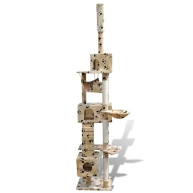 Cat Tree Cat Scratching Post 3 Condos Beige with Pawprints[2/5]