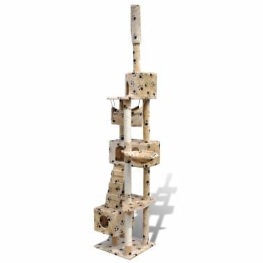 Arranhador para gato com 3 gateras + estampo de pata, 220-240cm, bege[3/5]