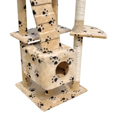 Cat Tree Cat Scratching Post 3 Condos Beige with Pawprints[4/5]