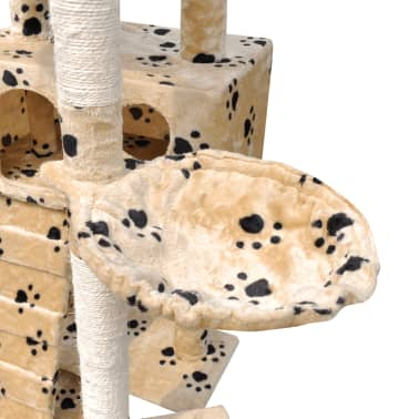 Cat Tree Cat Scratching Post 3 Condos Beige with Pawprints[5/5]