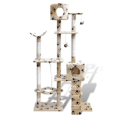 Cat Tree Cat Scratching Post 175 cm 2 Condos Beige with Pawprints[1/3]