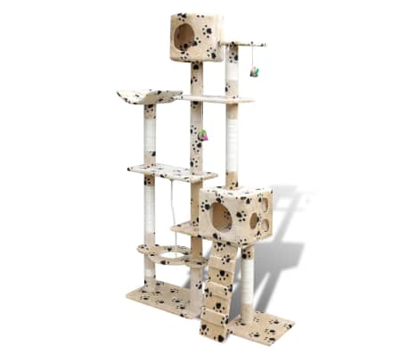 Cat Tree Cat Scratching Post 175 cm 2 Condos Beige with Pawprints[2/3]