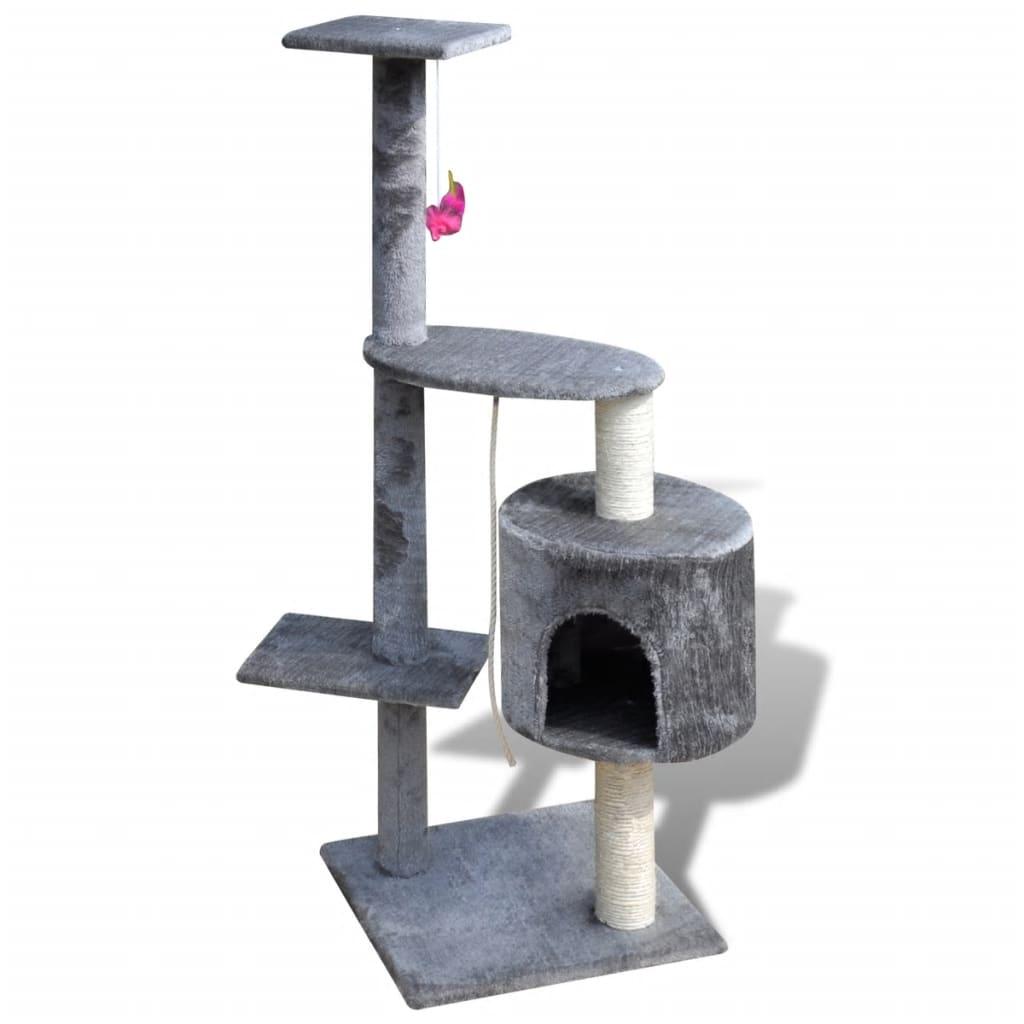 vidaXL Katten krabpaal Tommie 114 cm 1 huisje (grijs)