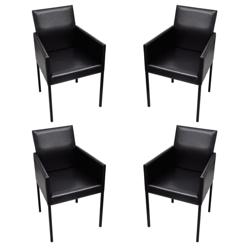 Černé jídelní židle s područkami, moderní design, sada 4 ks