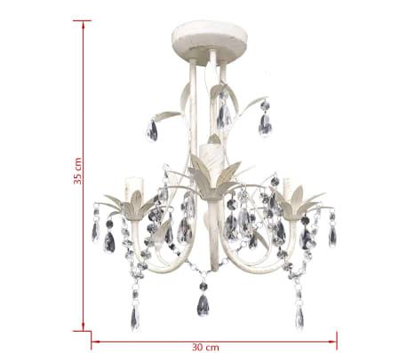 vidaXL Lámpara colgante araña de cristal elegante blanca[5/7]