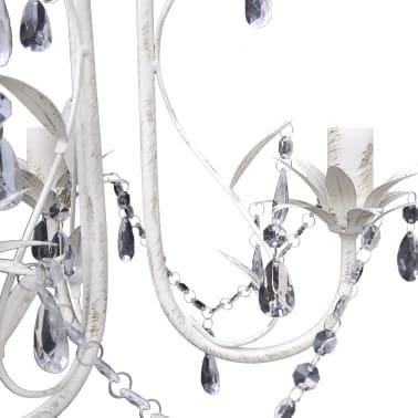 vidaXL Lámpara colgante araña de cristal elegante blanca[4/7]