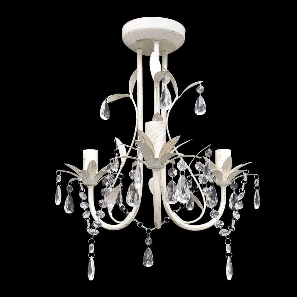 Elegantní, křišťálový lustr bílý