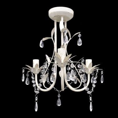 vidaXL Lámpara colgante araña de cristal elegante blanca[1/7]