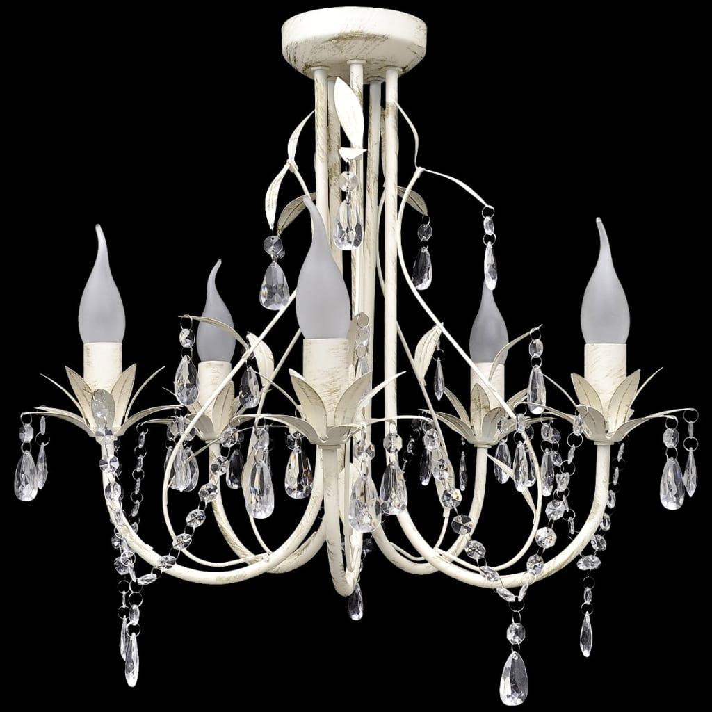 vidaXL Lustre en cristal transparent plafonnier 5 feux lampe luminaire