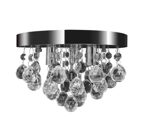 Lustre plafonnier contemporain cristal lampe chromé[2/7]