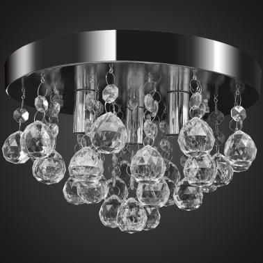 Lustre plafonnier contemporain cristal lampe chromé[3/7]