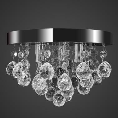 Lustre plafonnier contemporain cristal lampe chromé[5/7]