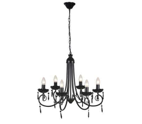 acheter vidaxl lustre noir 6 douilles d 39 ampoule pas cher. Black Bedroom Furniture Sets. Home Design Ideas