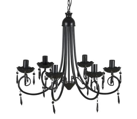 Pendant Ceiling Lamp Elegant Chandelier Black 6 Bulb