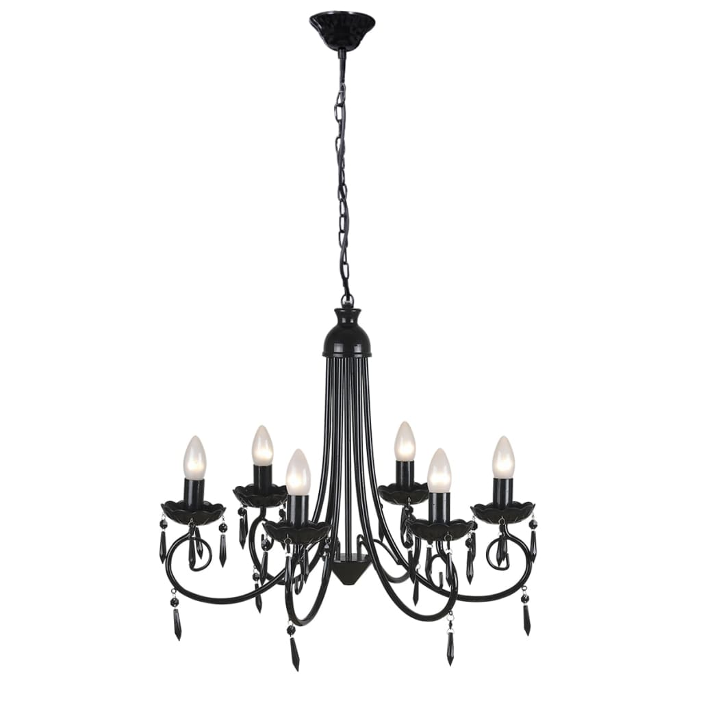 Kroonluchter met zwart elegant design (6 lampen)