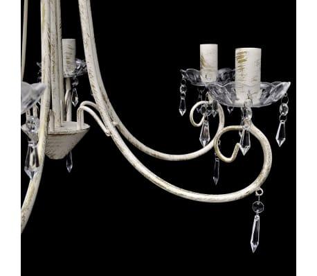 acheter lustre en cristal plafonnier 6 feux lampe luminaire blanc pas cher. Black Bedroom Furniture Sets. Home Design Ideas
