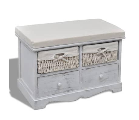 Banco ba l de madera blanca con cajones cestas for Banco baul exterior