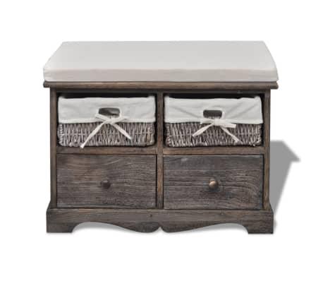 banc de rangement brun en bois avec 2 paniers de tissage. Black Bedroom Furniture Sets. Home Design Ideas