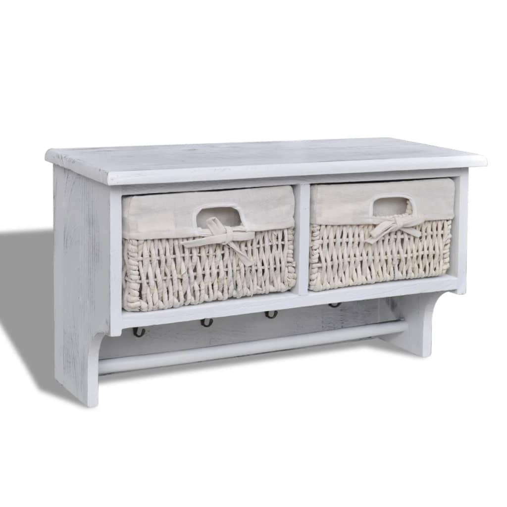 Nástěnná police bílá 60 x 23,5 x 33 cm dřevo pavlovnie