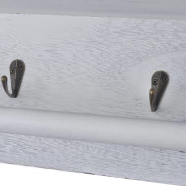 wandregal h ngeregal holzregal regal 2 k rben mit 4 haken g nstig kaufen. Black Bedroom Furniture Sets. Home Design Ideas