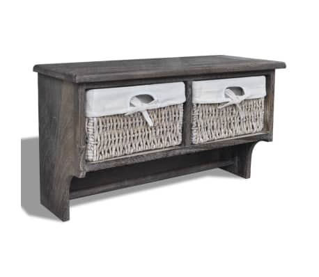 vidaXL Wooden Wall Shelf with Hangers 2 Weaving Baskets 4 Hooks Brown[1/8]