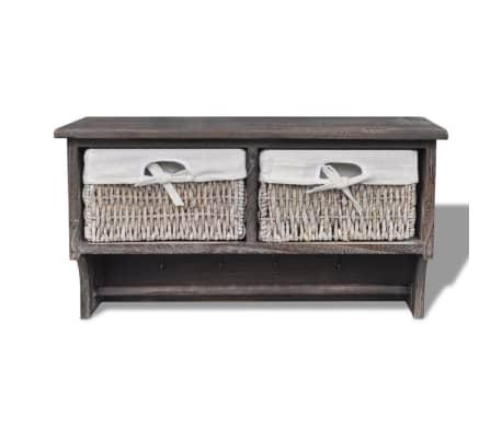 vidaXL Wooden Wall Shelf with Hangers 2 Weaving Baskets 4 Hooks Brown[2/8]