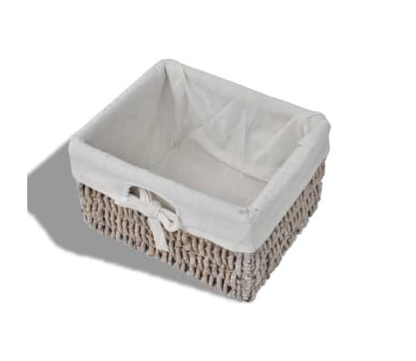 vidaXL Wooden Wall Shelf with Hangers 2 Weaving Baskets 4 Hooks Brown[7/8]