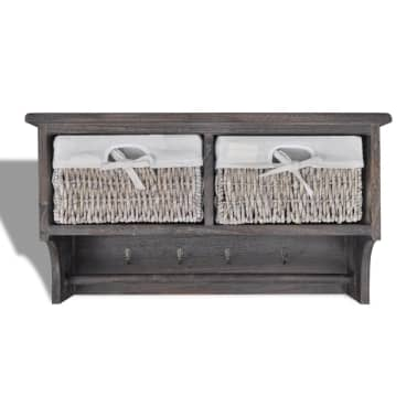 vidaXL Wooden Wall Shelf with Hangers 2 Weaving Baskets 4 Hooks Brown[3/8]