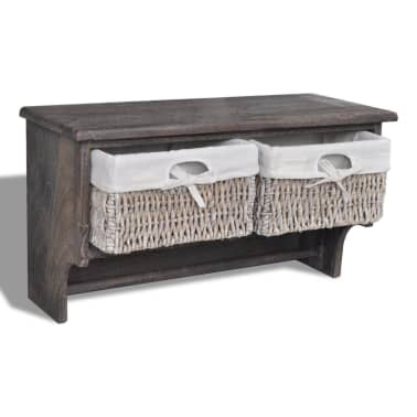 vidaXL Wooden Wall Shelf with Hangers 2 Weaving Baskets 4 Hooks Brown[6/8]