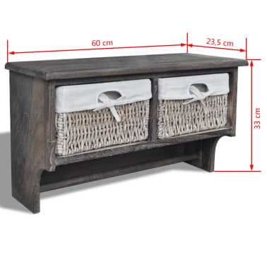 vidaXL Wooden Wall Shelf with Hangers 2 Weaving Baskets 4 Hooks Brown[8/8]