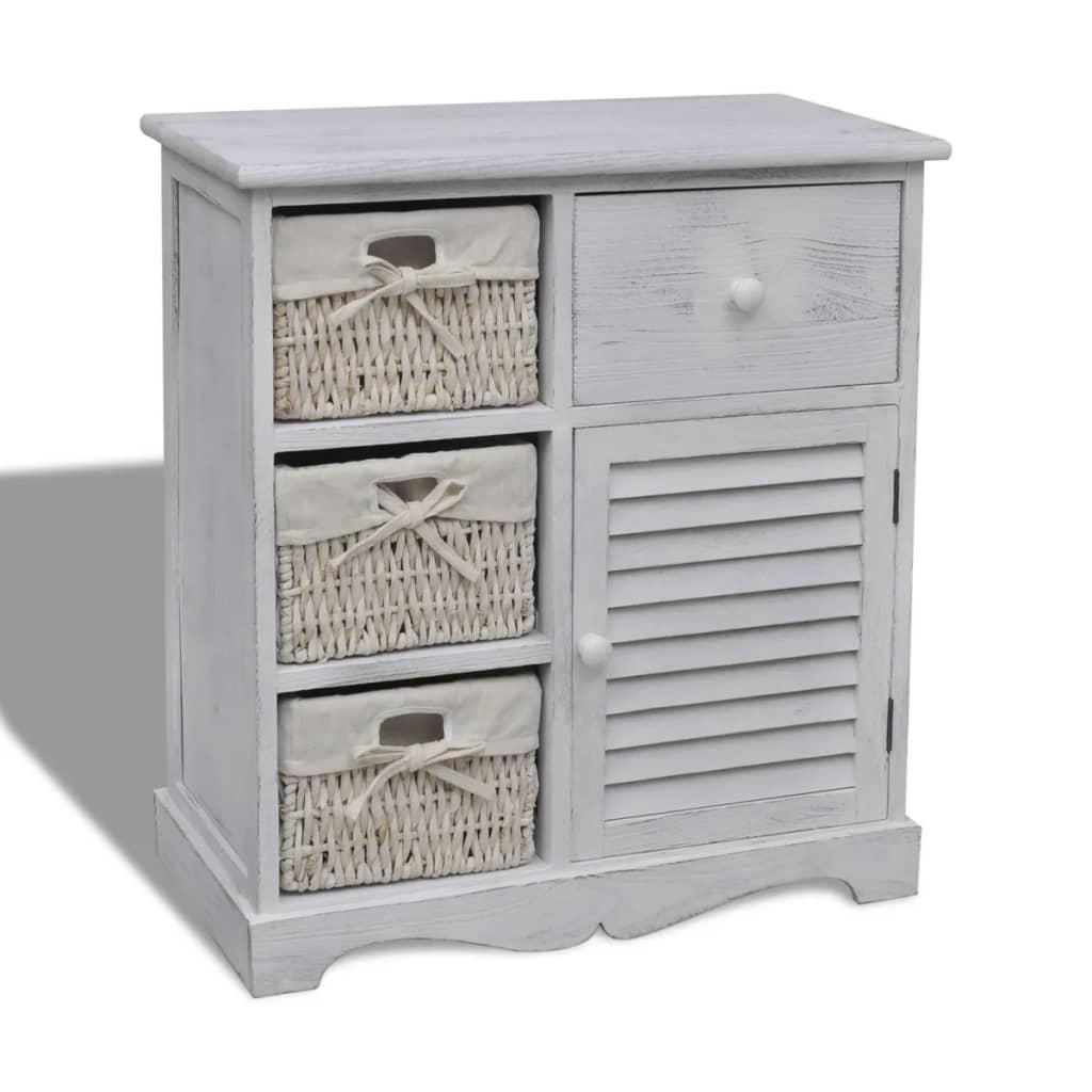 vidaXL Dřevěná komoda, 3 pletené košíky vlevo, bílá