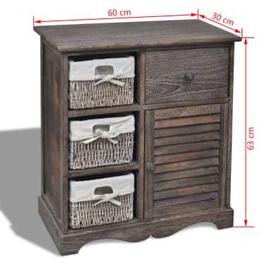 vidaXL Dulap din lemn, 3 coșuri împletite pe partea stângă, maro[6/6]
