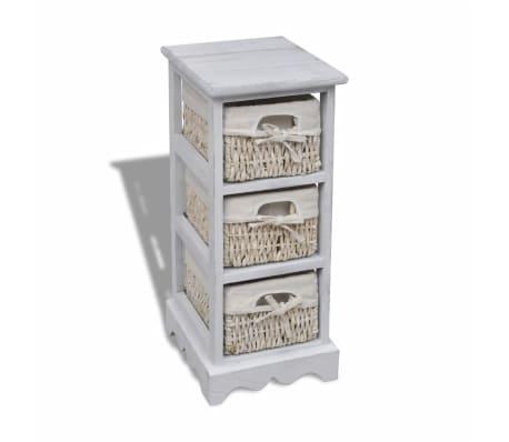 vidaXL Dulap de depozitare din lemn, 3 coșuri împletite, alb