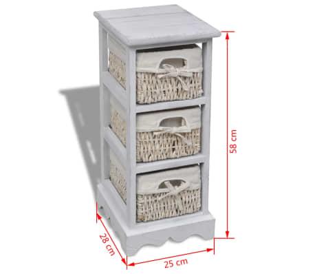 vidaXL Étagère de rangement en bois 3 paniers en tissage Blanc[7/7]