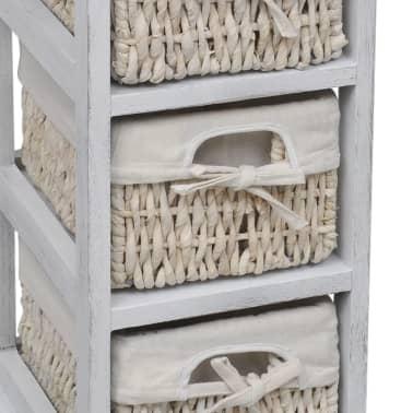 vidaXL Étagère de rangement en bois 3 paniers en tissage Blanc[4/7]