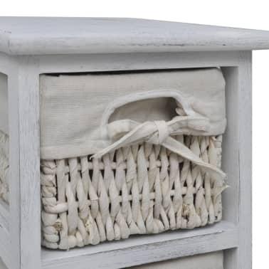 vidaXL Étagère de rangement en bois 5 paniers en tissage Blanc[6/7]