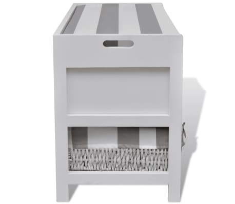 vidaXL White Storage & Entryway Bench with Cushion Top 2 Drawer 2 Basket[5/7]