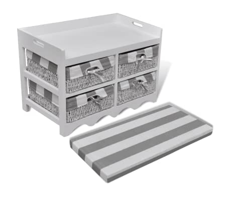 White Storage & Entryway Bench with Cushion Top 4 Basket[4/7]