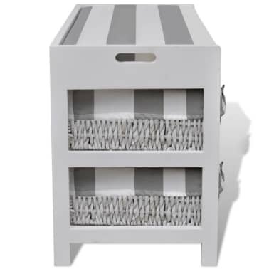 White Storage & Entryway Bench with Cushion Top 4 Basket[5/7]