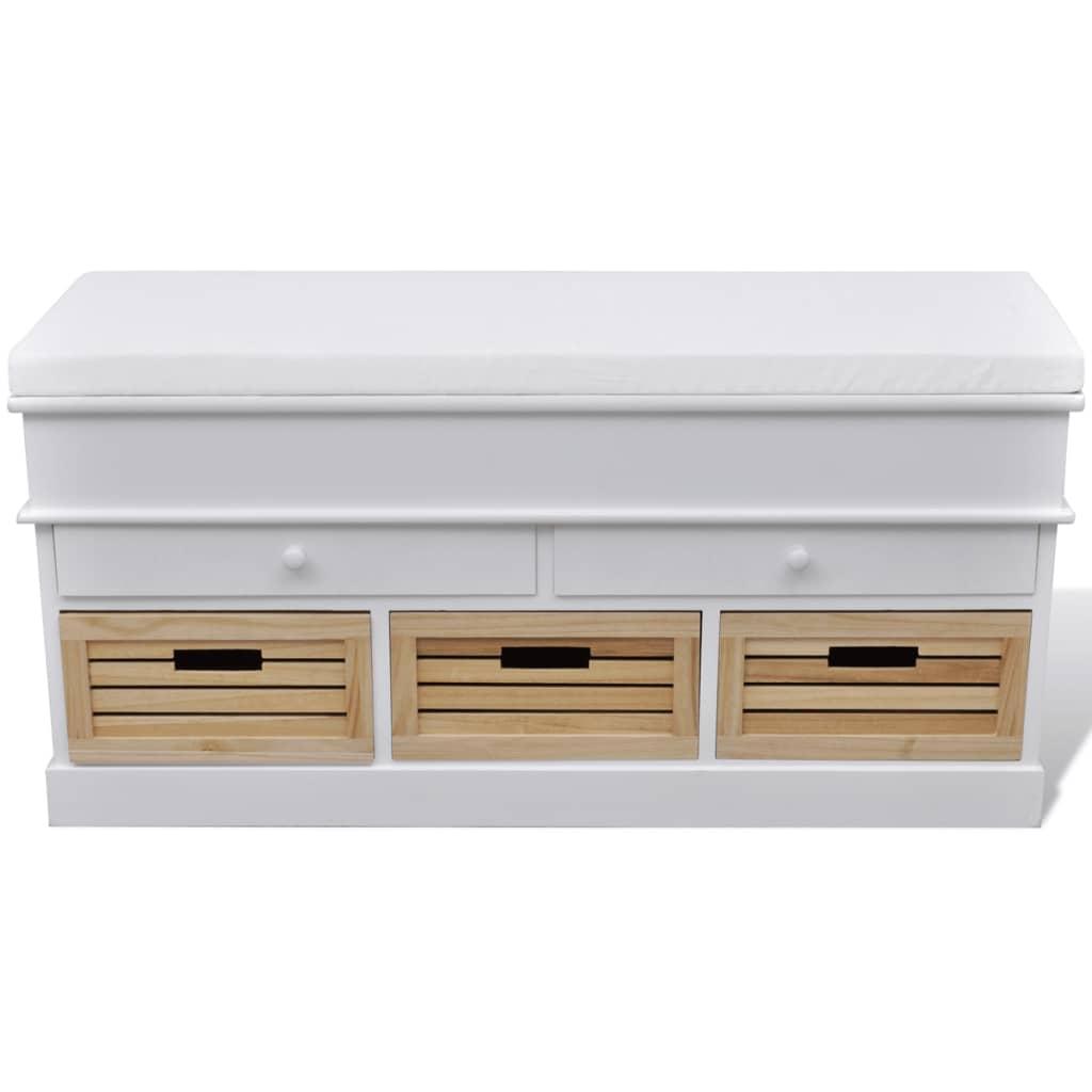 Bílá skladovací lavice s polštářem 2 zásuvky 3 krabice