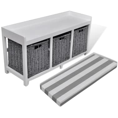 White Storage Amp Entryway Bench With Cushion Top 3 Basket