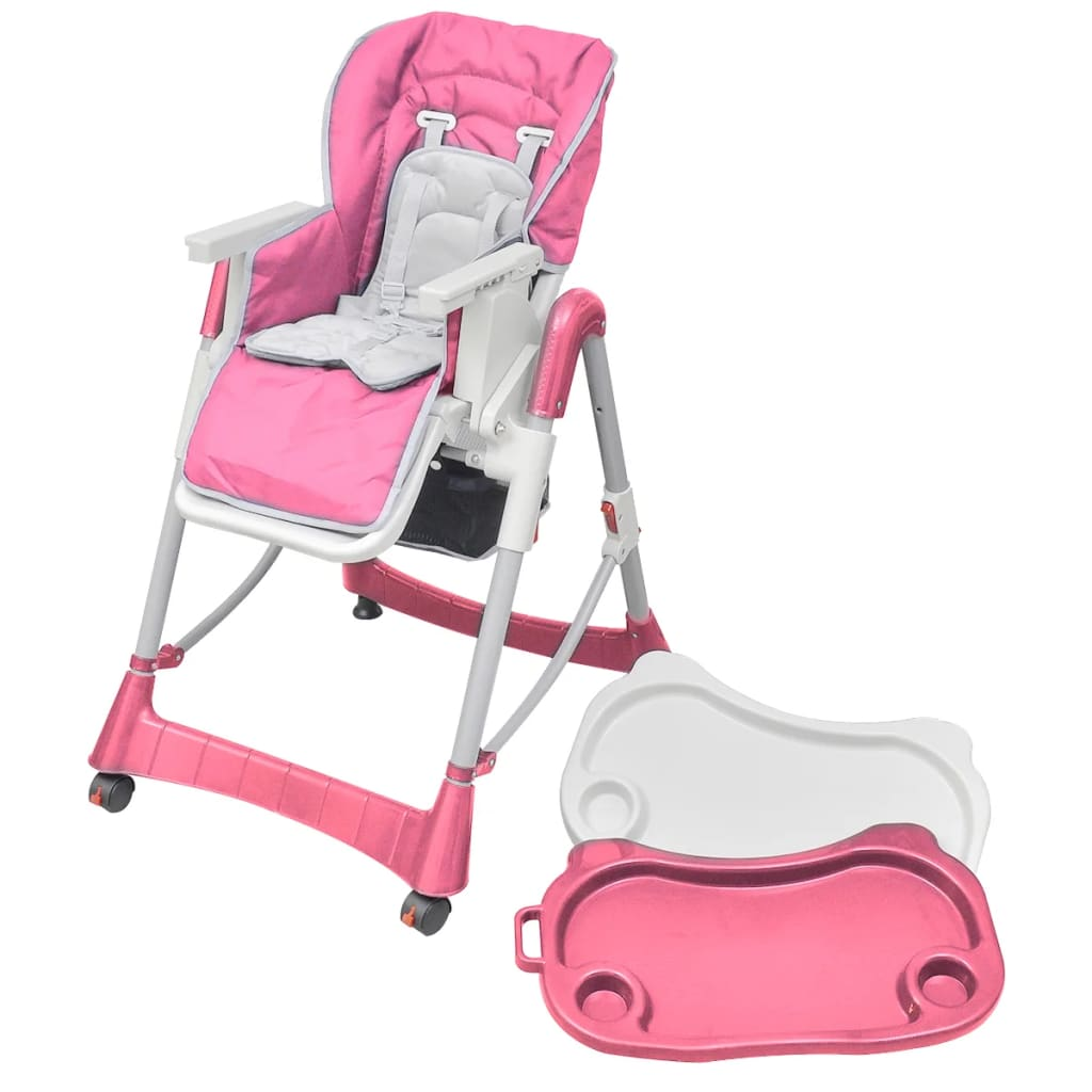 Dětská vysoká židle výškově nastavitelná Deluxe, růžová