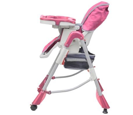 vidaXL Mažylio maitinimo kėdutė, rožinė, reguliuojamo aukščio[2/9]