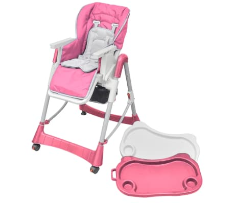 vidaXL Mažylio maitinimo kėdutė, rožinė, reguliuojamo aukščio[3/9]