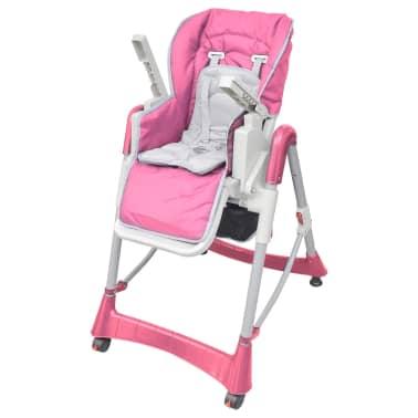 vidaXL Mažylio maitinimo kėdutė, rožinė, reguliuojamo aukščio[6/9]