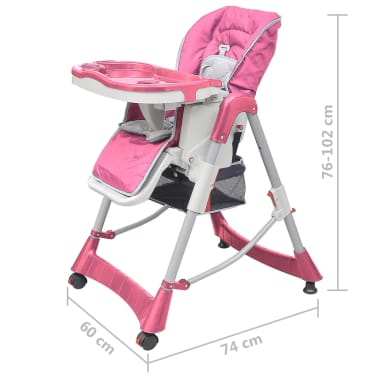 vidaXL Mažylio maitinimo kėdutė, rožinė, reguliuojamo aukščio[9/9]