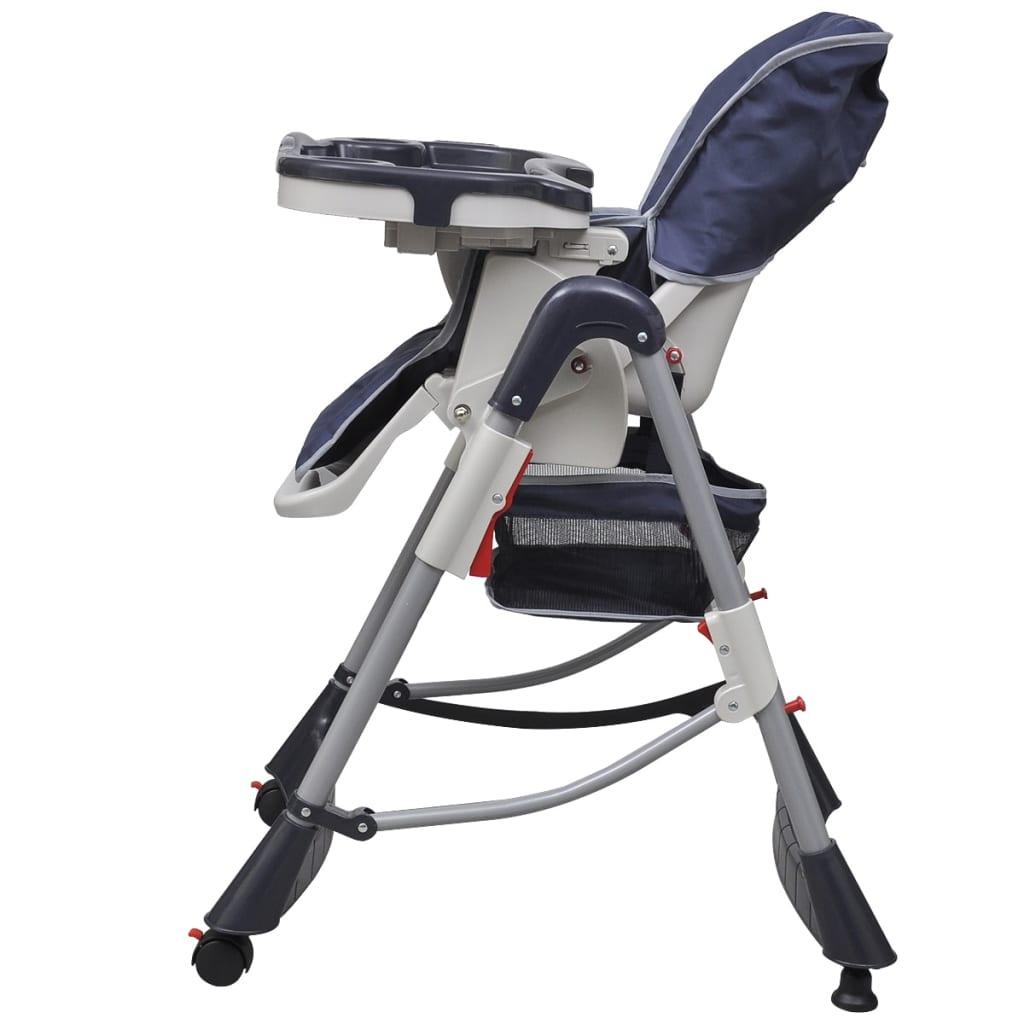 Dětská vysoká židle výškově nastavitelná Deluxe, tmavě modrá